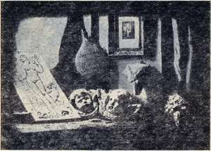 The first daguerrrotype made by Daguerre - a still life of paintings and sculpture. Made in 1837.