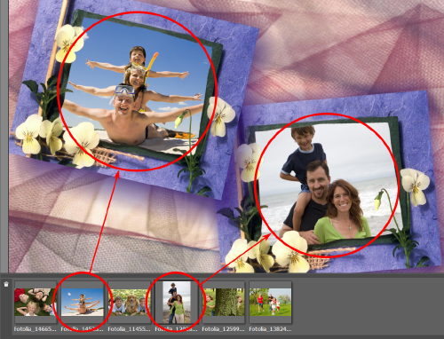 Place images into the frame  manually