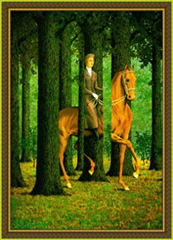 Painting by Rene Magritte, in frame