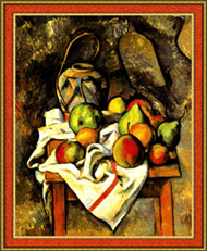 Still life by Cezanne, in frame