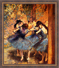 Dancers in Blue by Degas, in frame