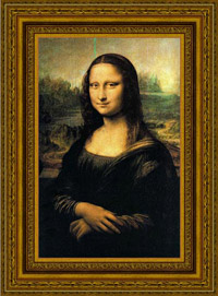Mona Lisa by Leonardo da Vinci, in frame