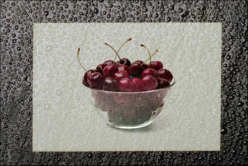 Greeting card with a vase of cherries