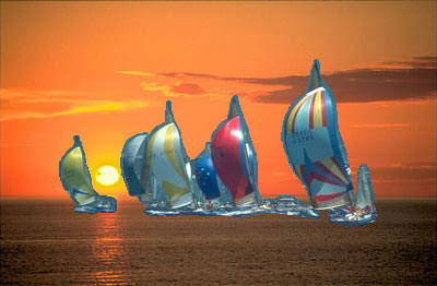 Paste the yachts into the sunset picture