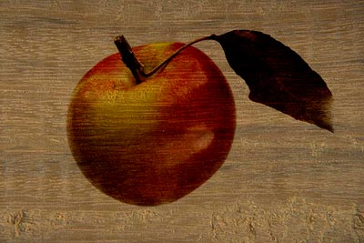 Collage: apple on a wooden plate