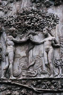 Adam and Eve near the Tree of Knowledge of Good and Evil