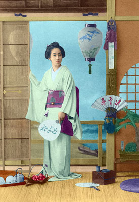 Color postcard of a Geisha