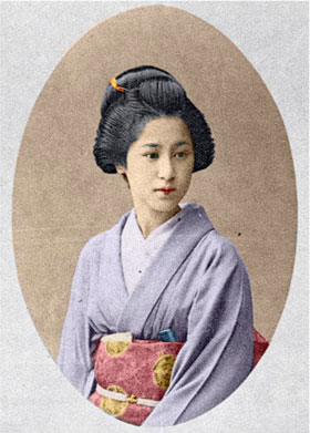 Colorized portrait of a geisha