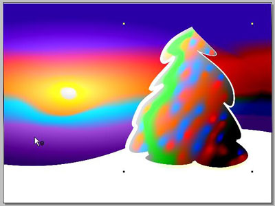 paste the Christmas tree  into the image with the colorful sky