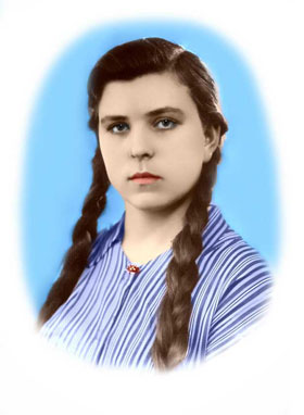 the colorized portrait of a girl