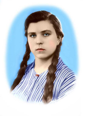 the portrait of the girl after the second colorization
