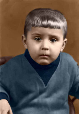the colorized photo of a boy