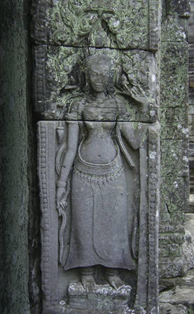 A stone bas-relief in a temple in Angkor, Cambodia