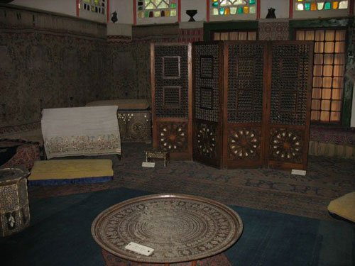Dark photo of one of the Khan Palace rooms in Bakhchisarai