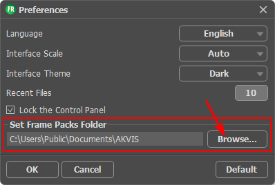 Preferences of AKVIS Frames