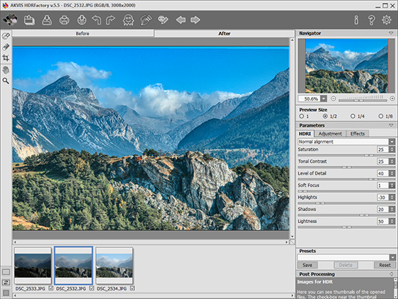 Change the value of the Tone Mapping parameters
