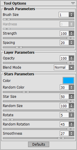 Options of the Sparkle Brush