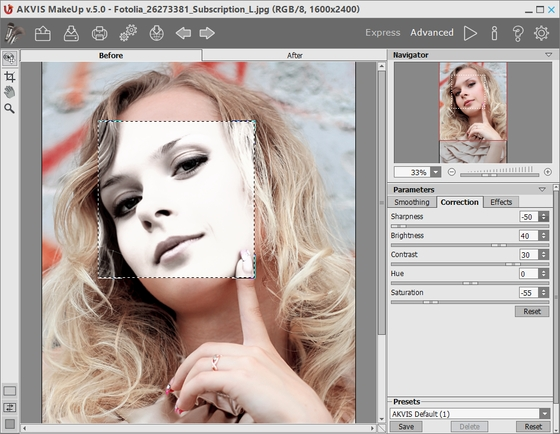 Correcting the Image in AKVIS MakeUp