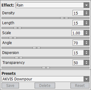 Rain Effect Settings