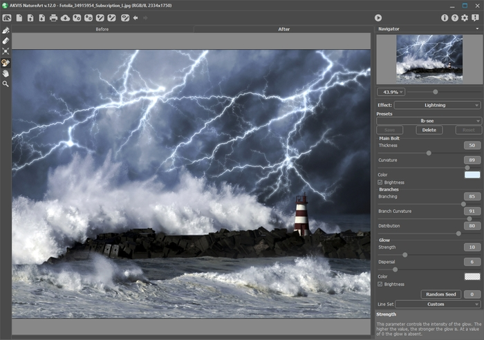 Lightning Effect in AKVIS NatureArt
