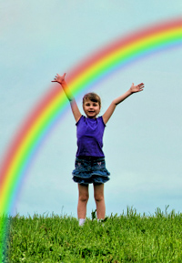Rainbow In Front Of Girl