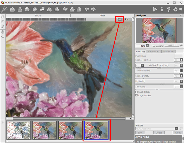 Image Processing in AKVIS Pastel
