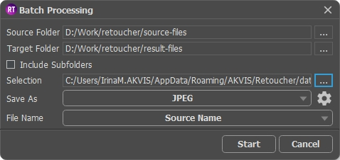 Batch Processing Window in AKVIS Retoucher