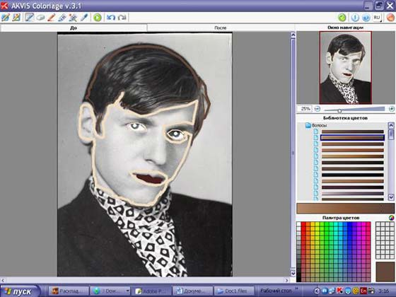 Draw an outline within the hair with a color selected from the Color Palette