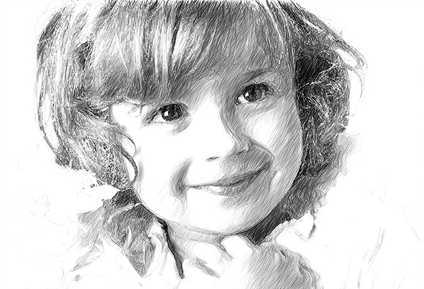 Original image photo to black and white artistic sketch