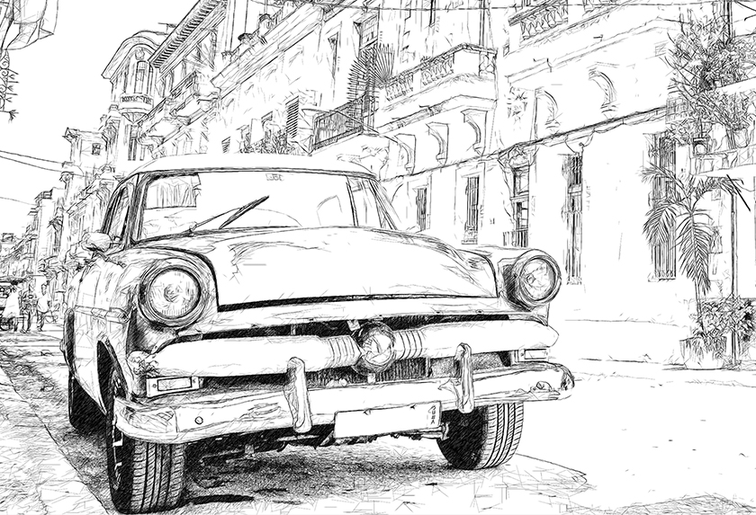 Photo to Black and White Drawing, Classic Style