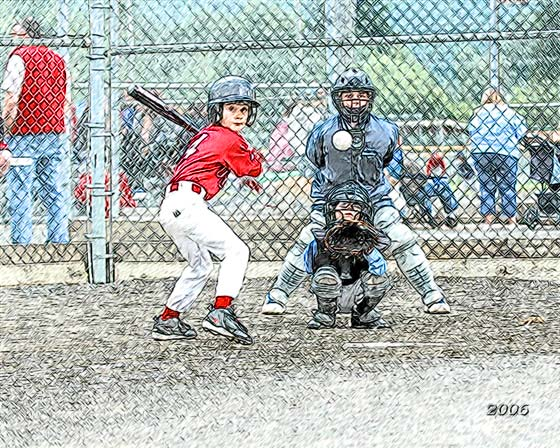 Junior baseball players - color pencil drawing