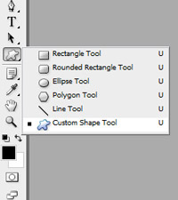 Выбор инструмента Custom Shape Tool