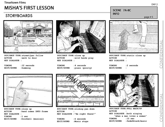 Film Storyboard. Final Storyboard Mock-Up Page Creating A