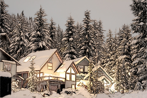 winter view sketch - Colour pencil ar
