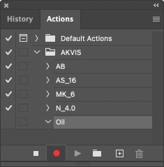 Actions palette