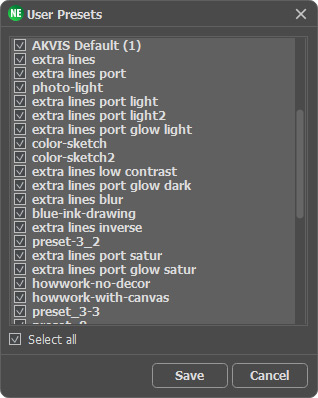 Choosing Presets to Export