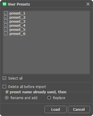 Choosing Presets to Import