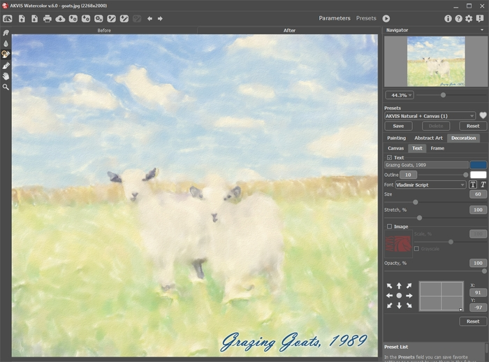 Add Text/Watermark for a Watercolor Art - AKVIS Watercolor