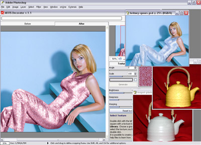 The program applies new textures/colors to an object's surface on a photograph.